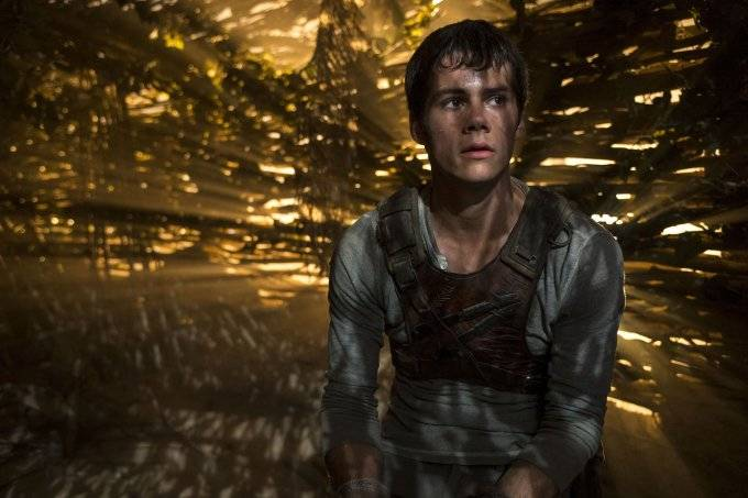 "This photo released by Twentieth Century Fox shows Dylan O'Brien as Thomas in the film, ""The Maze Runner."" The movie releases in the U.S. on Sept. 19, 2014. (AP Photo/Twentieth Century Fox, Ben Rothstein)"