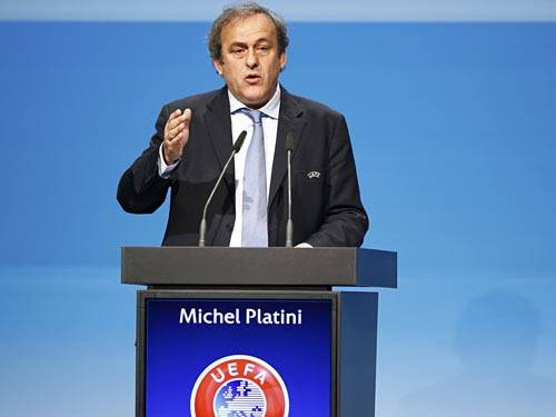 Uefa's president Michel Platini delivers his speech at their congress in Vienna