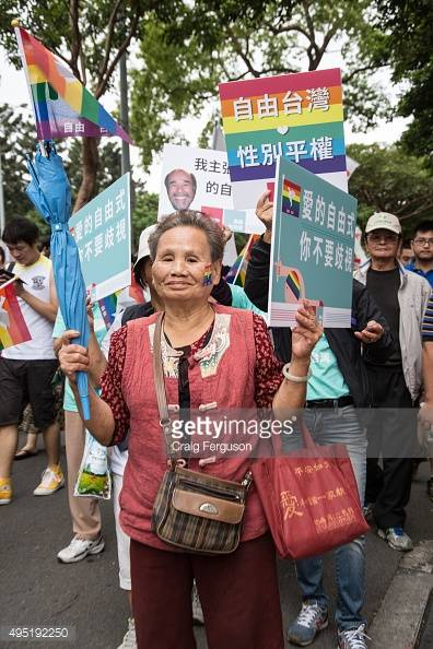 TAIPEI, TAIWAN - 2015/10/31: All ages particpated in Taiwan's gay pride event as they marched through city streets. Upwards of 60 000 people took to the streets of Taipei for the annual Pride march, the largest such event in Asia. Taiwan is often said to be the likeliest Asian nation to legalize gay marriage. (Photo by Craig Ferguson/LightRocket via Getty Images)
