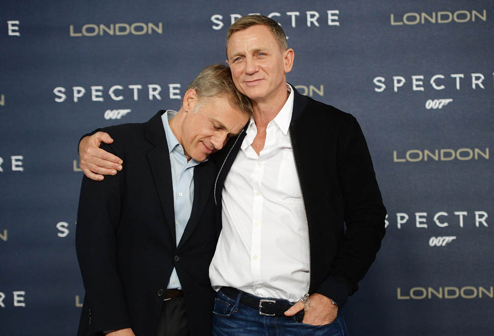 "LONDON, ENGLAND - OCTOBER 22:  Daniel Craig(R) and Christoph Waltz attend a photocall for ""Spectre"" at Corinthia Hotel London on October 22, 2015 in London, England.  (Photo by Dave J Hogan/Dave J Hogan/Getty Images)"