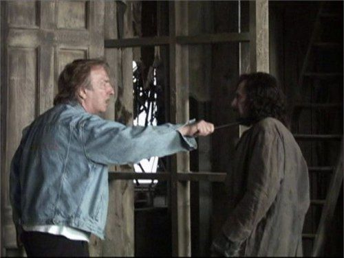 Alan Rickman and Gary Oldman behind the scenes of Prisoner of Azkaban practicing scenes together before Alan is snapeafied
