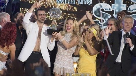 """DANCING WITH THE STARS - """"Episodes 2210A"""" - It's the closest race ever with some of the best dancing celebrities have ever pulled off. Ginger Zee and Valentin Chmerkovskiy, Nyle DiMarco and Peta Murgatroyd, and Paige VanZant and Mark Ballas have one last night of competitive dancing, vying to win the judges' and America's votes to be crowned the """"Dancing with the Stars"""" champion, culminating an incredible season, announced live TUESDAY, MAY 24 (9:00-11:00 p.m. EDT), on the ABC Television Network. (ABC/Eric McCandless) NYLE DIMARCO, PETA MURGATROYD, TOM BERGERON"""