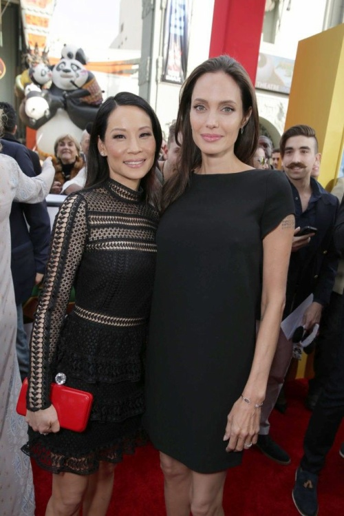 Lucy Liu and Angelina Jolie seen at DreamWorks Animation and Twentieth Century Fox World Premiere of 'Kung Fu Panda 3' at TCL Chinese Theater on Saturday, Jan. 16, 2016, in Hollywood, CA. (Photo by Eric Charbonneau/Invision for Twentieth Century Fox/AP Images)