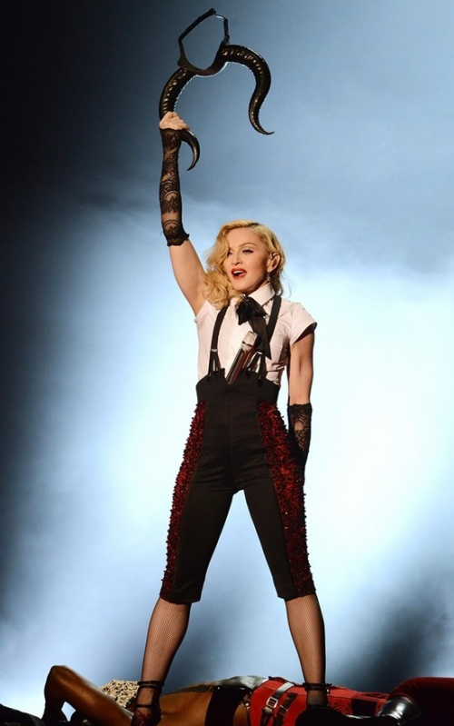 LONDON, ENGLAND - FEBRUARY 25: Madonna performs at the BRIT Awards 2015 at The O2 Arena on February 25, 2015 in London, England. (Photo by Dave J Hogan/Getty Images)
