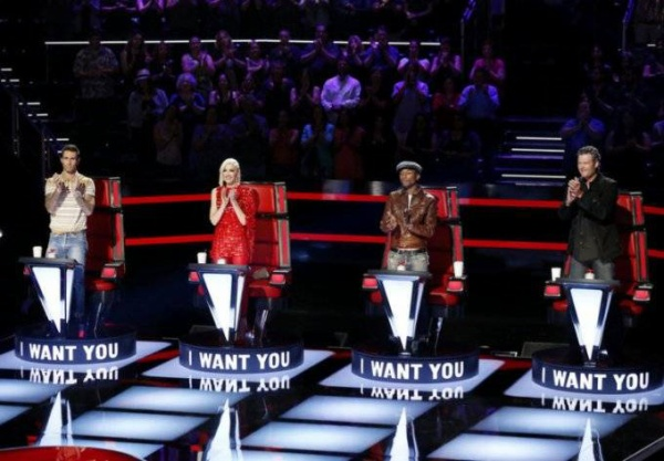 "THE VOICE -- ""Blind Auditions"" -- Pictured: (l-r) Adam Levine, Gwen Stefani, Pharrell Williams, Blake Shelton -- (Photo by: Trae Patton/NBC)"