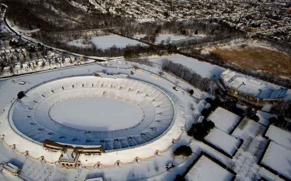 19 The Yale Bowl in New Haven, Connecticut, is blanketed in snow