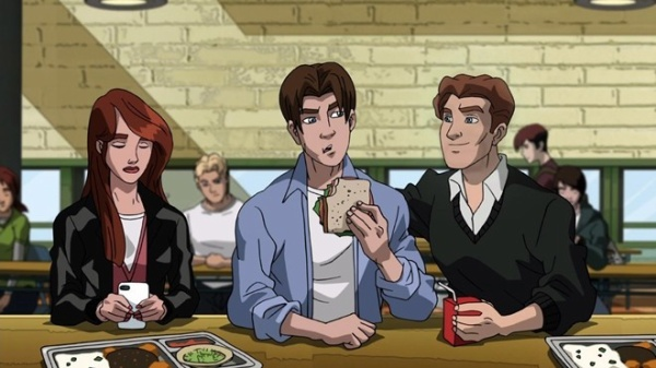 """ULTIMATE SPIDER-MAN - """"For Your Eye Only"""" - When the S.H.I.E.L.D. helicarrier is taken over by an evil super army, Spider-Man finds himself without help against the forces of Scorpio and Zodiac, in a new episode of """"Ultimate Spider-Man,"""" SUNDAY, JULY 22 (11:00 -11:30 a.m., ET/PT) on Marvel Universe on Disney XD. (DISNEY XD) MJ WATSON, PETER PARKER, HARRY OSBORN"""
