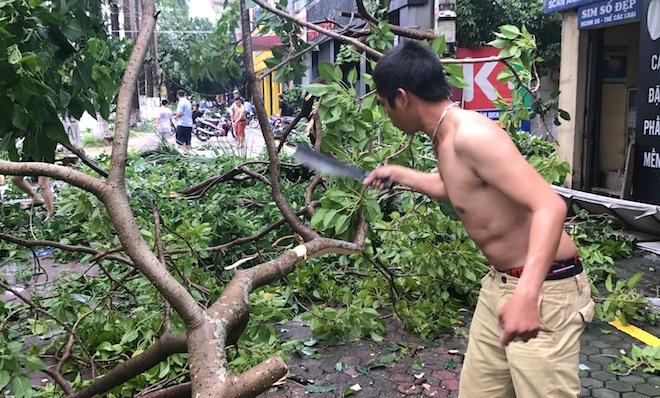 Người dân chặt cây giải phóng đường vào nhà.