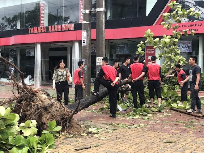 Do bão đi qua làm thiệt hại nhiều tài sản nên trong sáng nay, nhiều cơ quan đơn vị đã cho nhân viên tập trung để dọn dẹp, khắc phục tài sản thiệt hại sau bão.