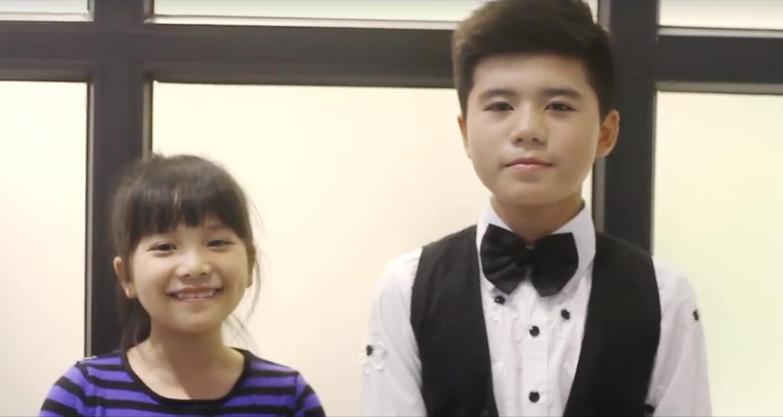Hà Mi và Minh Khang trong clip cover<em> Cô gái ngày hôm qua.</em>