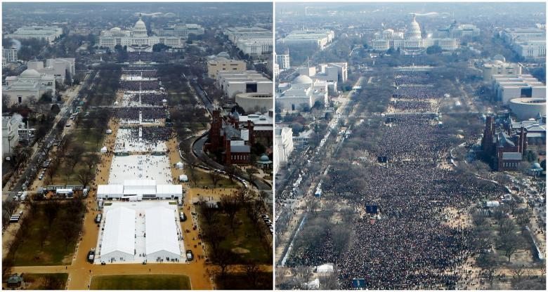Ảnh chụp Quảng trường Quốc gia (National Mall) ở Washington từ trên không vào ngày nhậm chức của Tổng thống Donald Trump hôm 20/1 và người tiền nhiệm Barack Obama vào năm 2009.