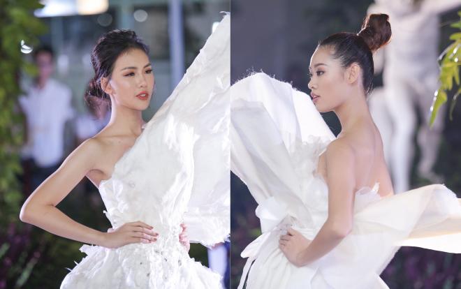 Diện váy che hết tầm nhìn, Khánh Vân-Quỳnh Hoa vẫn thể hiện trình catwalk cực đỉnh