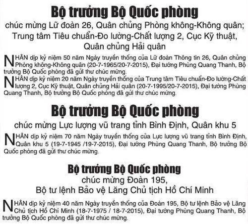 Tin Bộ trưởng Phùng Quang Thanh gửi thư chúc mừng các đơn vị trên báo Quân đội Nhân dân số ra ngày 18, 19 và 20/7.