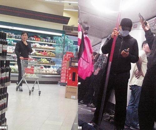 Lương Triều Vỹ đi tàu điện ngầm, đi chợ siêu thị một mình.