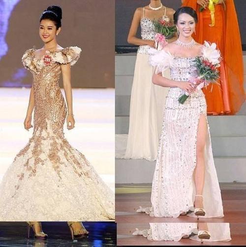 Hai á hậu đều chọn những trang phục dạ hội khéo che khuyết điểm.