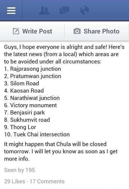 Đại học Chula Longkon, nơi Huyền Anh đang theo học thông báo trên Facebook về những địa điểm mà sinh viên không nên đến