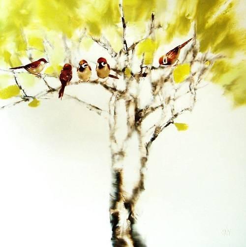 Thuy - Birds 2015 - 101 x 101cm    A  X