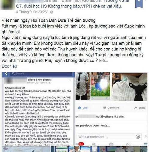 Bài đăng thể hiện sự bức xúc trên Facebook của L.Q.A.