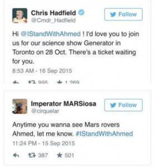 Những thành viên của NASA cảm thấy hứng thú với Ahmed và mời cậu đến tham dự triển lãm khoa học tại Toronto, một người khác còn mời cậu bé tới cùng ngắm Sao Hỏa.