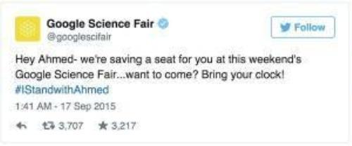 """Google Science Fair, Hội chợ khoa học của ông lớn làng công nghệ Google mời Ahmed Mohamed tới tham dự cùng với tác phẩm """"quả bom"""" của mình."""