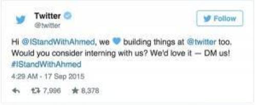 """Ngay cả Twitter cũng đích thân gửi lời mời đến cậu học sinh """"ưa lọ mọ"""": """"Này, ở Twitter chúng tôi cũng thích lọ mọ sáng chế lắm đấy. Em thử cân nhắc về việc thực tập ở chỗ chúng tôi xem? Chúng tôi thích lắm!"""""""