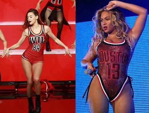 Trang phục biểu diễn của Hồ Ngọc Hà cũng bị nhiều người soi và mang ra so sánh với Beyonce.