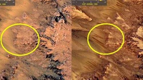 Dấu vết được cho là vệt muối khô trên sao Hỏa. Ảnh: Reddit