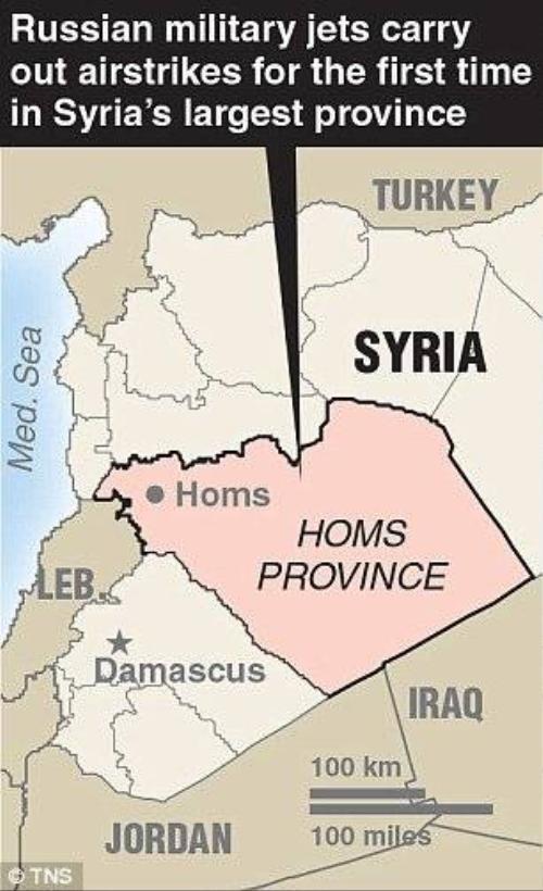 Các mục tiêu không kích tại Syria của các máy bay Nga.