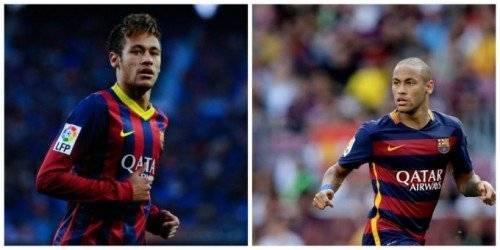 Hình ảnh trước và sau khi Neymar... xuống tóc. Mái tóc chất lừ biến mất, thay vào đó là cái đầu trọc nhìn như dân anh chị.