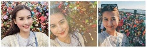 Dù leo cầu thang bộ mỏi chân và mệt, nhưng khi chứng kiến những ổ khóa tình yêu đủ màu sắc, cô nàng Hà Lade thích chí liên tục selfie liền tù tì mấy kiểu.