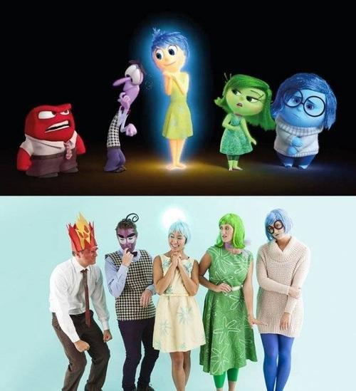 Nhóm bạn hóa trang các nhân vật cảm xúc trong phim Inside Out.