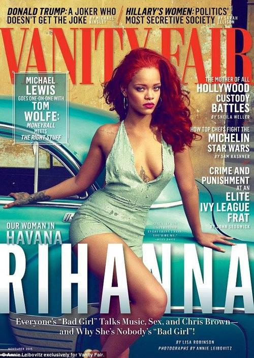 Rihanna gợi cảm trên trang bìa Vanity Fair số tháng 10/2015.