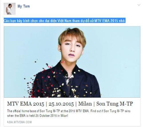 Status kêu gọi các fan ủng hộ Sơn Tùng  được Mỹ Tâm đăng tải trên Fanpage chính thức.