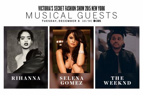 Victoria's Secret Fashion Show 2015 công bố 3 ca sĩ sẽ trình diễn năm nay.