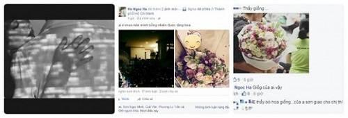 Một bó hoa mà Hà Hồ được tặng có tấm thiệp hình trái tim nhưng bị người đẹp che mất nội dung.