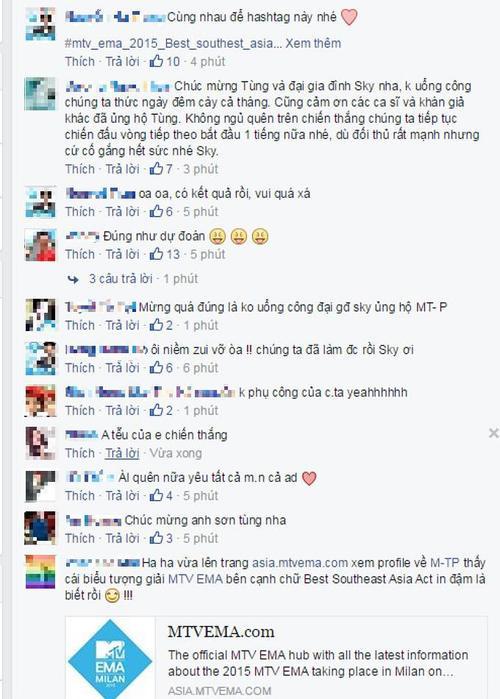 Sau khi thông tin chính thức được công bố, các fan và nhiều cư dân mạng liên tục gửi lời chúc mừng đến Sơn Tùng M-TP.