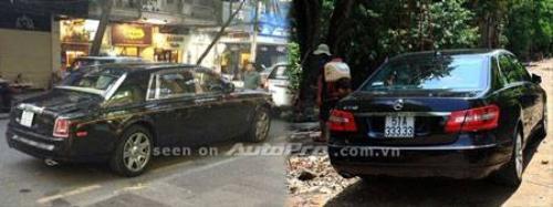 """Ngoài ra phong trào """"mượn biển"""" tại Việt Nam khá phát triển. Mercedes E250 sử dụng biển ngũ quý 3 của Phantom Rồng."""