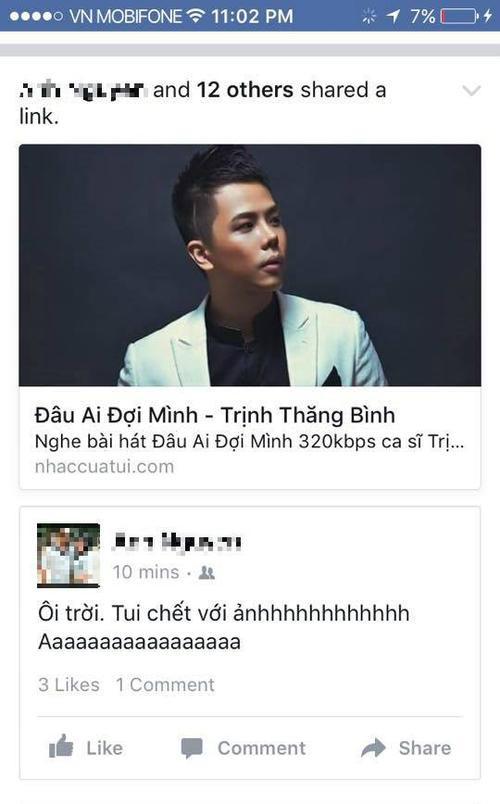 Các fan Trịnh Thăng Bình liên tục chia sẻ bài hát mới của thần tượng.
