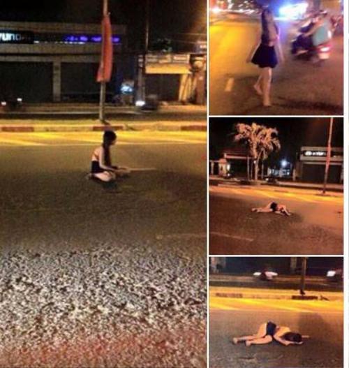 Thiếu nữ có những hành động kỳ lạ trên đường gây xôn xao.