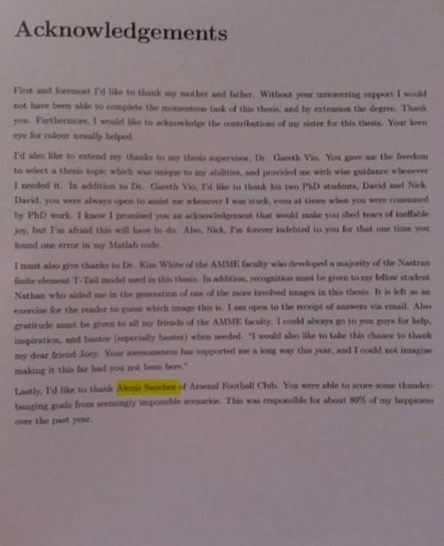 Bài văn tốt nghiệp gửi lời cám ơn Alexis Sanchez.