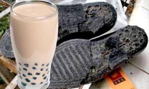 Trà sữa trân châu mới đây cũng bị tố được làm từ đế giày và lốp xe cũ.