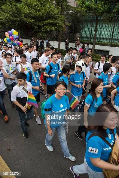 TAIPEI, TAIWAN - 2015/10/31: Google and HP workers joined in the march at the annual gay pride event. Upwards of 60 000 people took to the streets of Taipei for the annual Pride march, the largest such event in Asia. Taiwan is often said to be the likeliest Asian nation to legalize gay marriage. (Photo by Craig Ferguson/LightRocket via Getty Images)