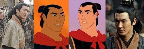 Tạo hình cổ trang của mỹ nam She Was Pretty khá giống với nhân vật tướng quân Lý Tường trong phim hoạt hình Hoa Mộc Lan.