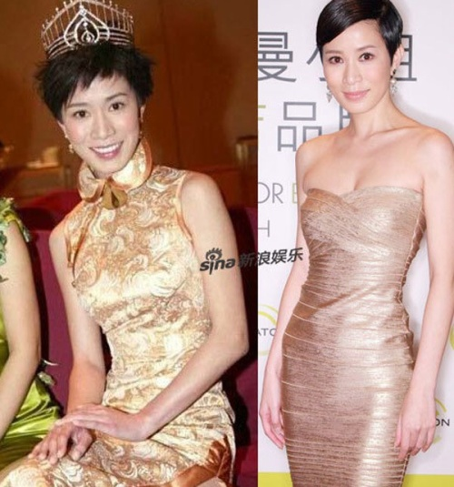 Xa Thi Mạn lúc đăng quang tại cuộc thi Hoa hậu Hồng Kong và ngày nay.