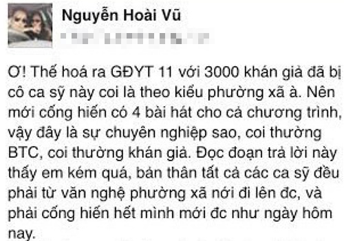 Status bức xúc của bầu show hải ngoại Nguyễn Hoài Vũ trên trang cá nhân trước lúc bị xóa.