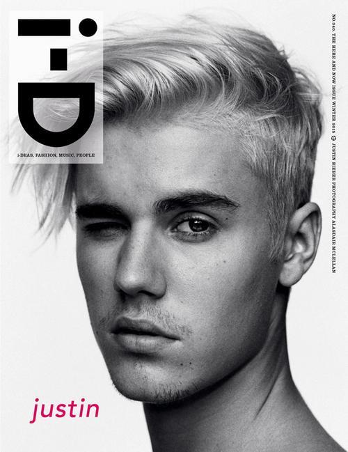 """Tạp chí i-D số phát hành tháng 11/2015 giới thiệu ngôi sao trang bìa là Justin Bieber -  ca sĩ có album mới Purpose phát hành hôm 13/11 (theo giờ địa phương). Ảnh bìa là gương mặt """"hoàng tử nhạc pop"""" với mái tóc mới rẽ lệch, để râu ria, trưởng thành hơn với những đĩa nhạc trước đó."""