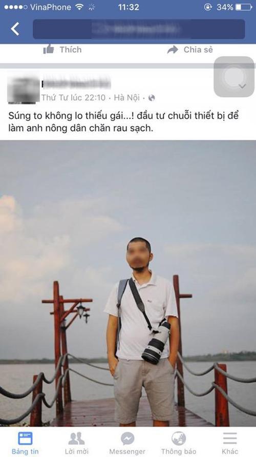"""Trên trang cá nhân của mình, ông bố này cũng từng post những bài viết sử dụng những ngôn từ không mấy hay ho nói về việc """"chăn rau""""."""