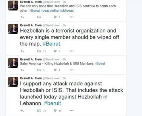 Nghị sĩ Mỹ hả hê trước tin Beirut bị đánh bom kép.