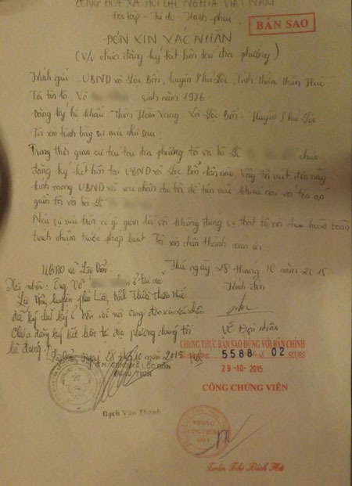 UBND xã Lộc Bổn (huyện Phú Lộc) xác nhận đến thời điểm trước ngày 29/10/2015, ông N. vẫn chưa đăng ký kết hôn lần nào.