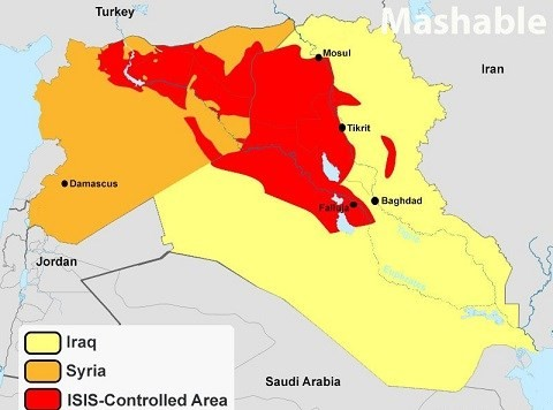 Việc chiếm được các mỏ dầu ở phía bắc Iraq đã giúp IS trở thành tổ chức khủng bố giàu có nhất thế giới (Màu đỏ là khu vực do Nhà nước Hồi giáo - IS kiểm soát).